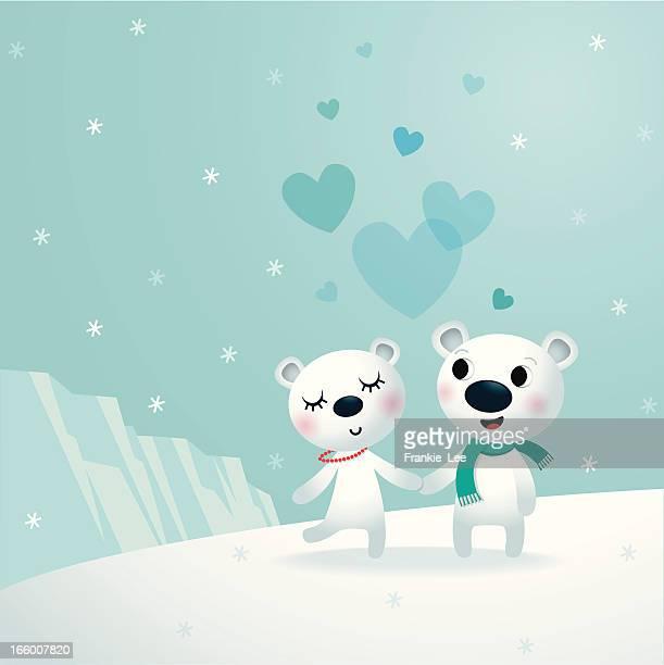 polar love - flirting stock illustrations, clip art, cartoons, & icons