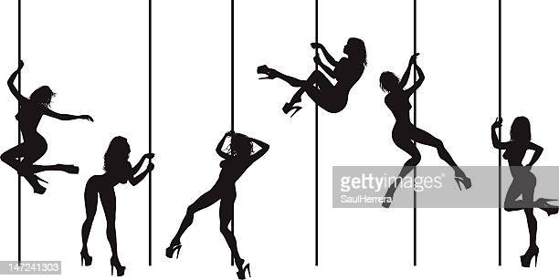 illustrazioni stock, clip art, cartoni animati e icone di tendenza di pole dance-tubo dancers - donna nuda