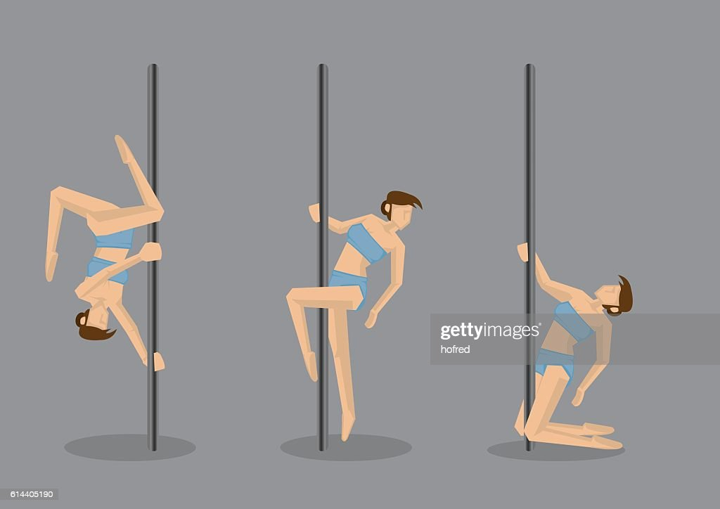 Pole Dance Vector Character Illustration