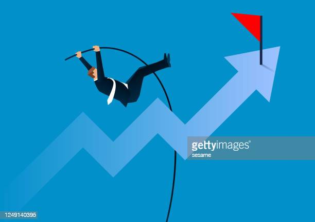 pole vault business concept, overcome obstacles to achieve business goals, successfully complete challenges - men's field event stock illustrations