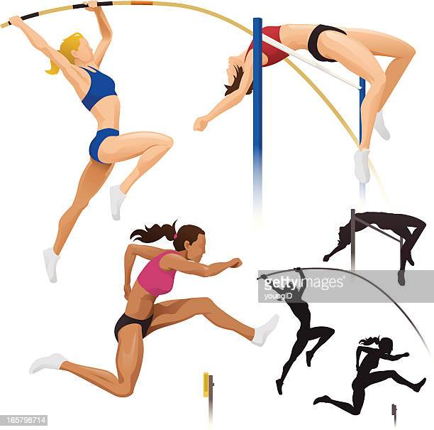 pole vault, high jump & hurdles - hurdle stock illustrations