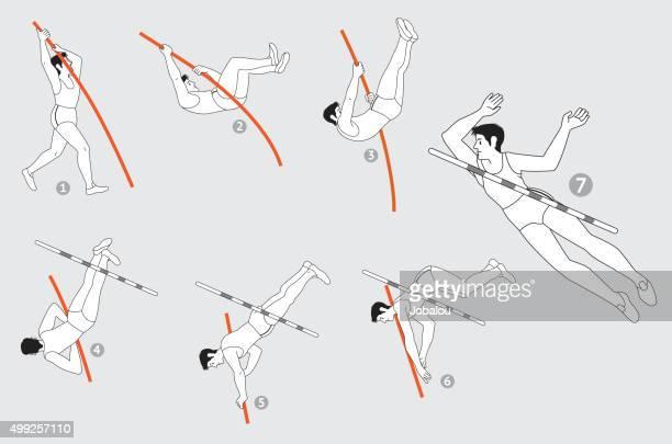 棒高跳びのステップ - オリンピック選手点のイラスト素材/クリップアート素材/マンガ素材/アイコン素材
