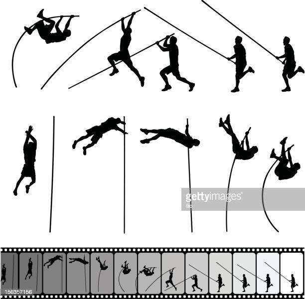 pole vault - competitive sport stock illustrations, clip art, cartoons, & icons