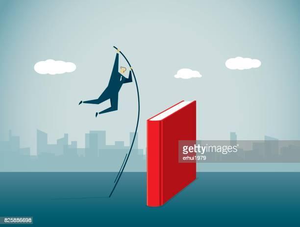ilustrações, clipart, desenhos animados e ícones de salto com vara - livro de capa dura
