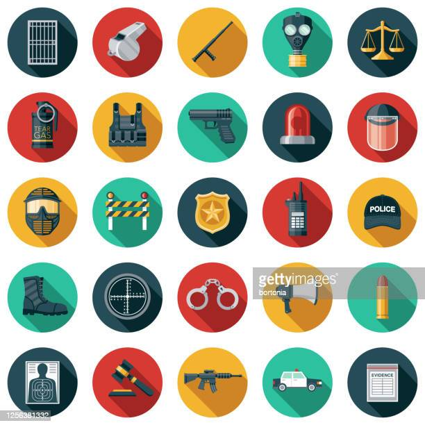 police and law enforcement icon set - whistle stock illustrations