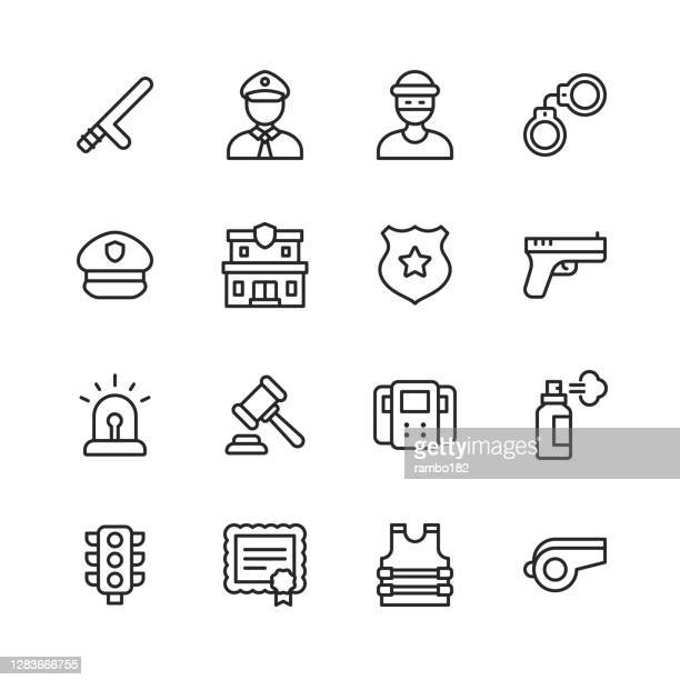 police and law enforcement line icons. editable stroke. pixel perfect. for mobile and web. contains such icons as policeman, policewoman, thief, handcuffs, vest, police station, gun, law, traffic, prison, car, dog, criminal, security, sheriff, detective. - pepper spray stock illustrations