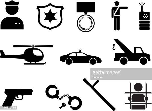 Police and Law Enforcement royalty free vector icon set