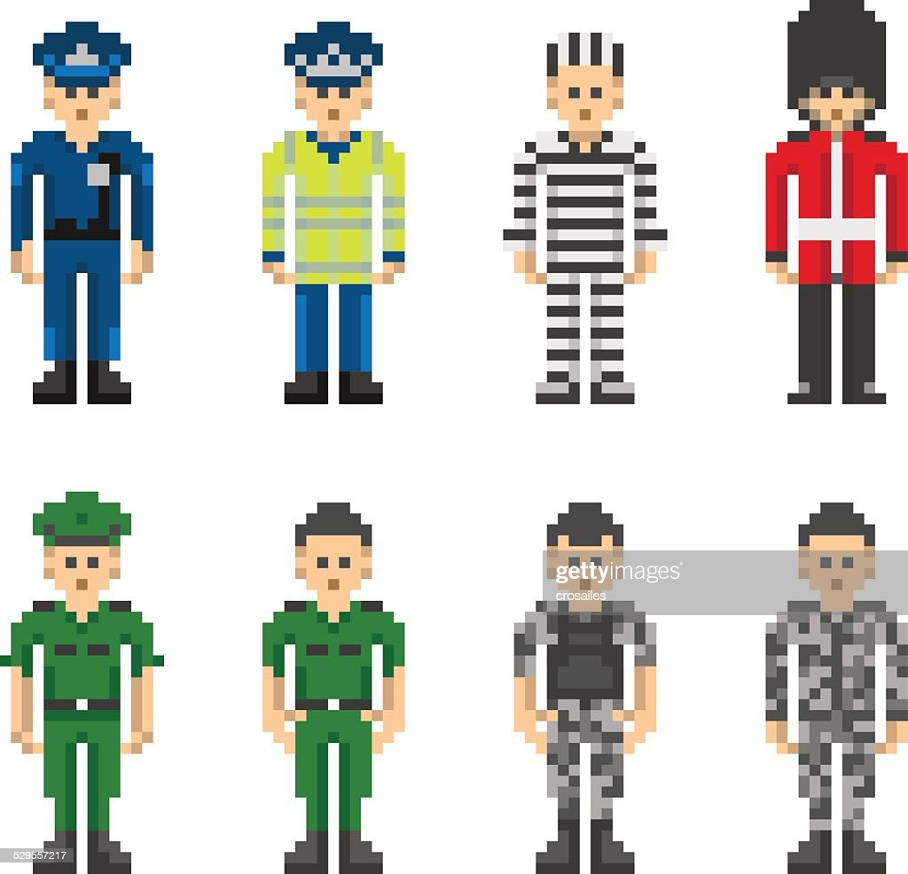 Police and Military People in Pixel Art Style