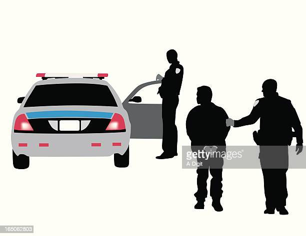 police arrest vector silhouette - arrest stock illustrations, clip art, cartoons, & icons