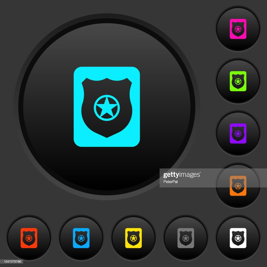 Police badge dark push buttons with color icons