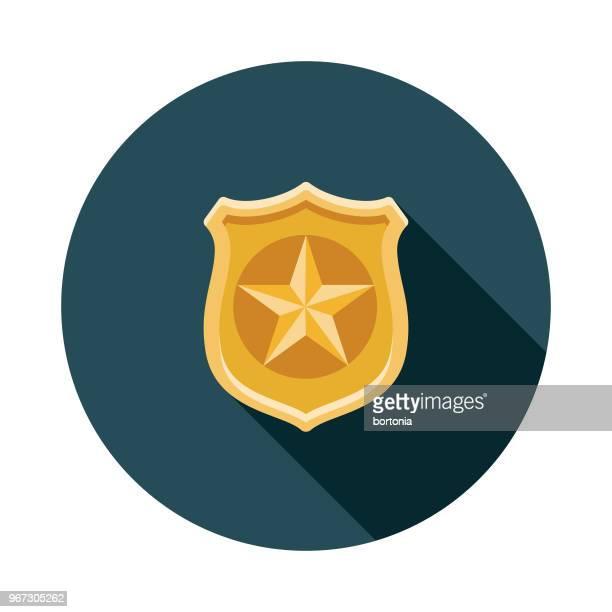 police badge flat design crime & punishment icon - shield stock illustrations