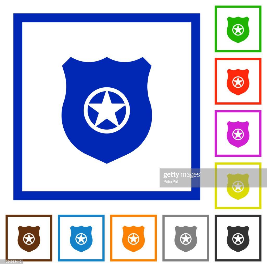 Police badge flat framed icons