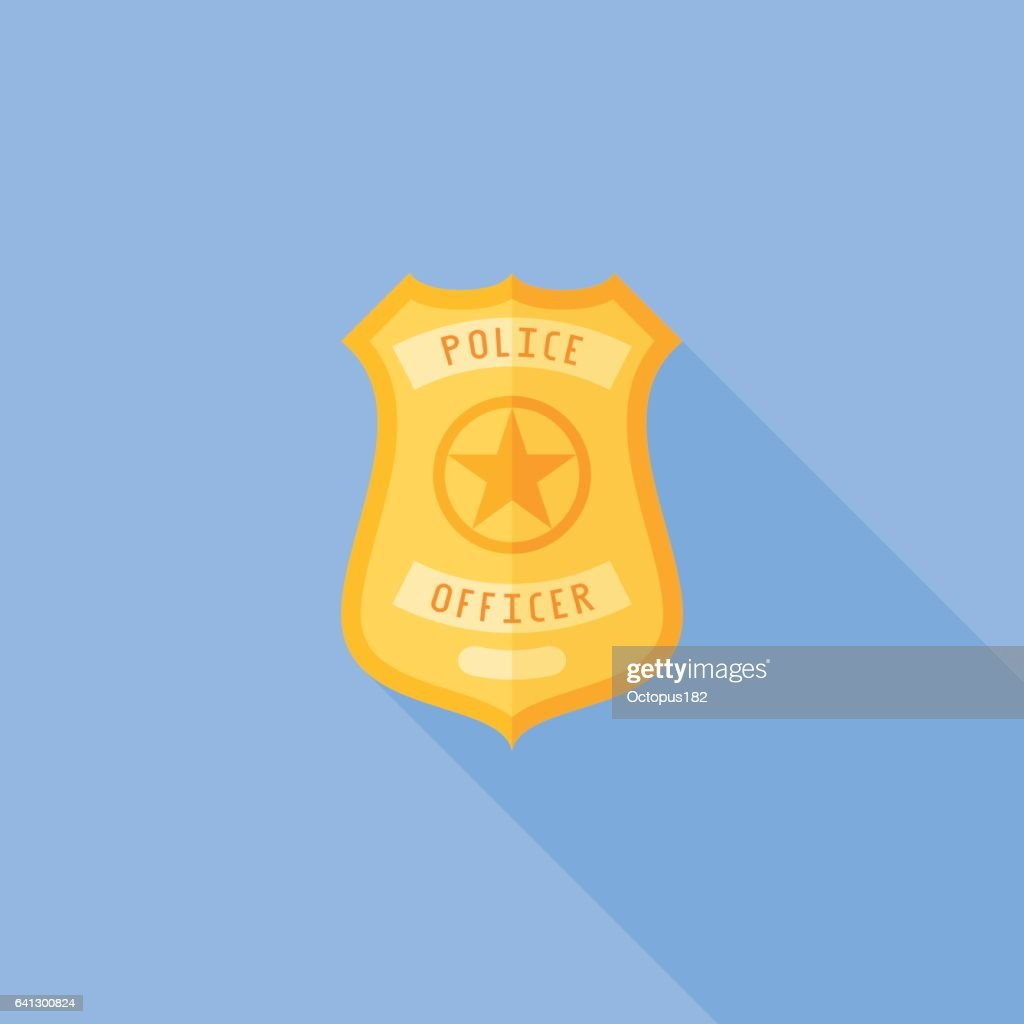 Police badge flat icon with long shadow
