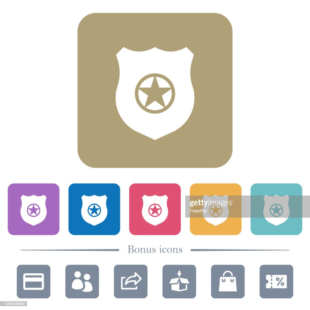 Police badge flat icons on color rounded square backgrounds