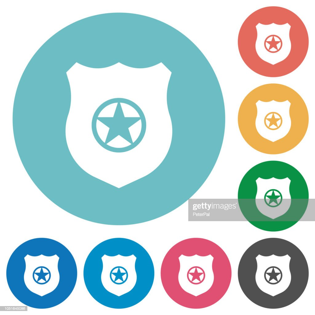 Police badge flat round icons