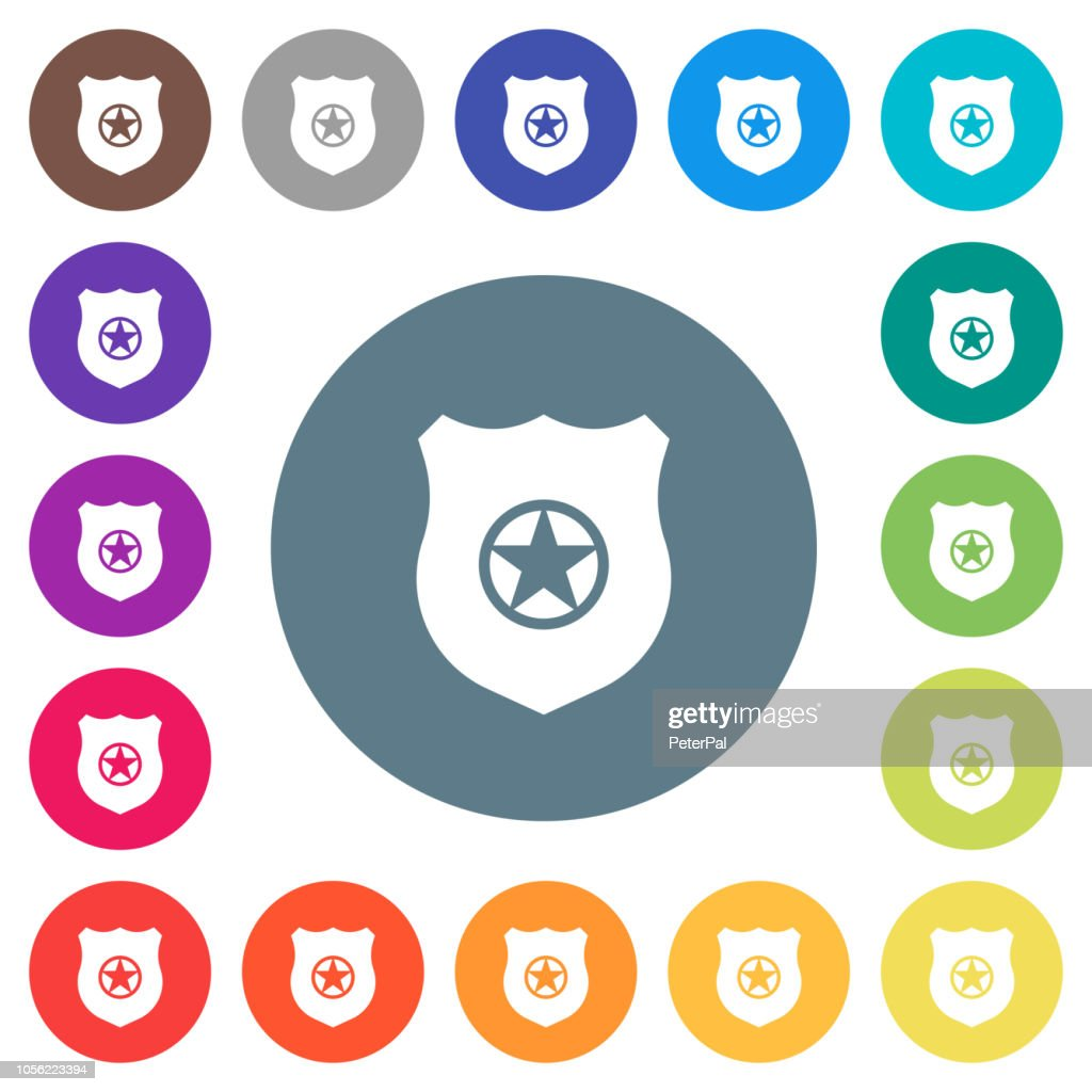 Police badge flat white icons on round color backgrounds