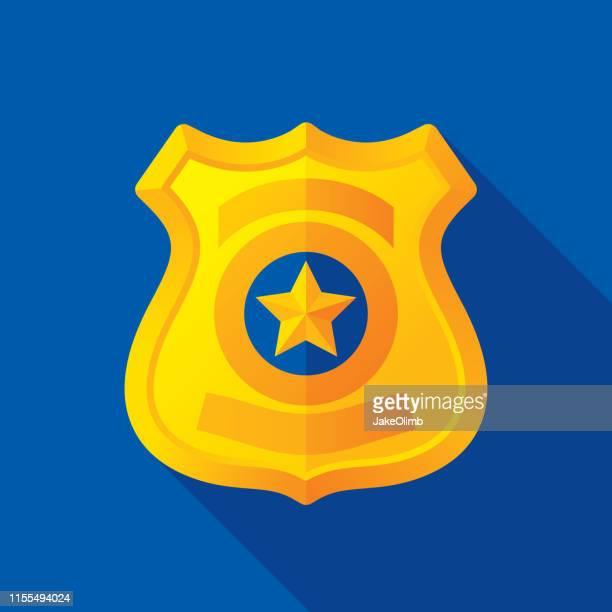 police badge icon flat - watchmen stock illustrations