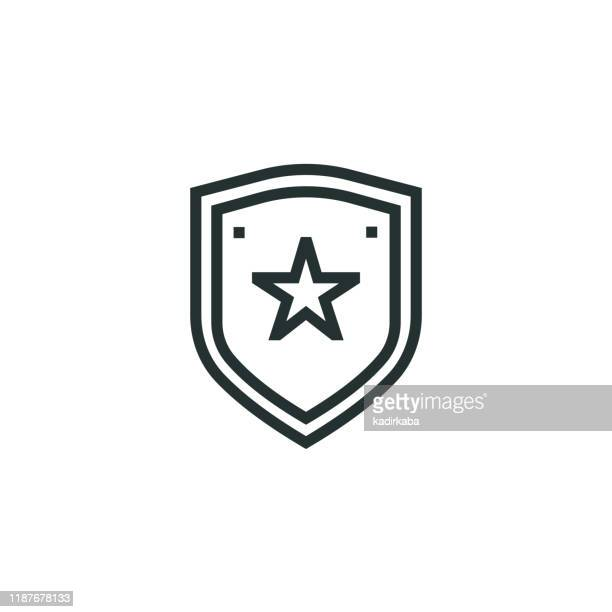police badge line icon - police chief stock illustrations