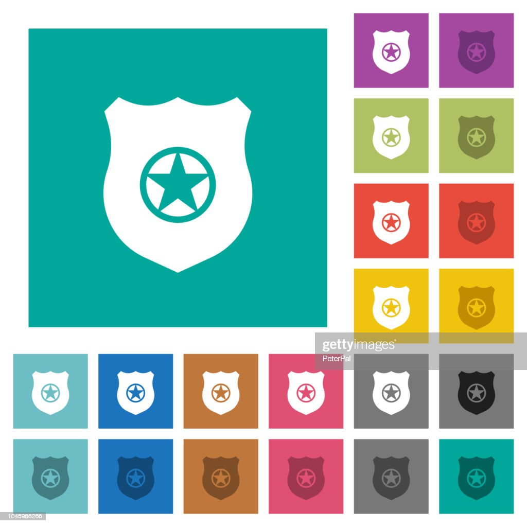 Police badge square flat multi colored icons