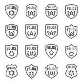 Police Badge Vector Line Icon Set. Contains such Icons as Sheriff, Military, Shield and more. Expanded Stroke