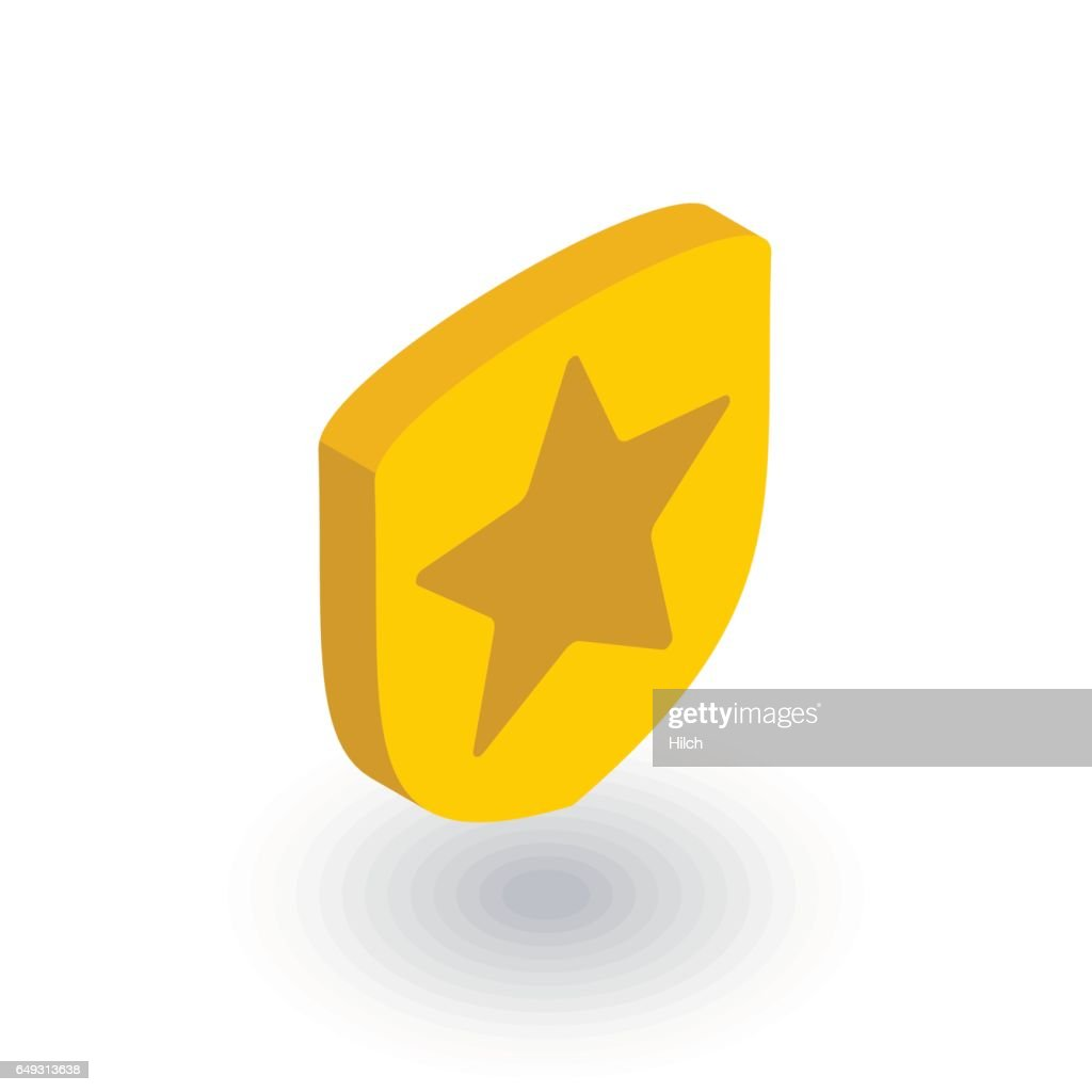 Police badge whith star isometric flat icon. 3d vector