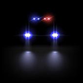 Police car light effect on dark background. Vector illustration.