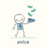 police collect money which fall