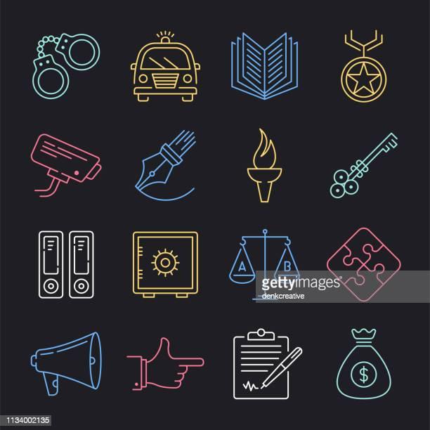 ilustrações, clipart, desenhos animados e ícones de polícia e comunidade neon estilo vector icon set - reforma assunto