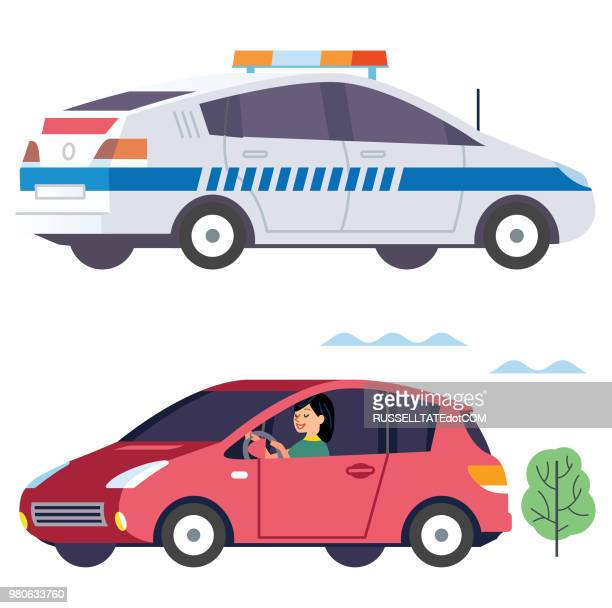police cruiser and speeding driver - compact car stock illustrations, clip art, cartoons, & icons