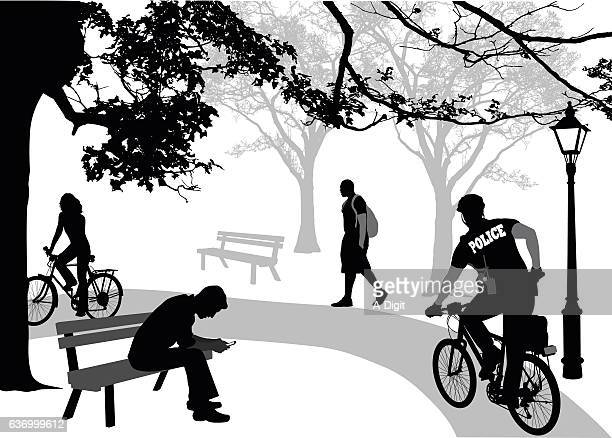 police cycling in the park - bad posture stock illustrations, clip art, cartoons, & icons
