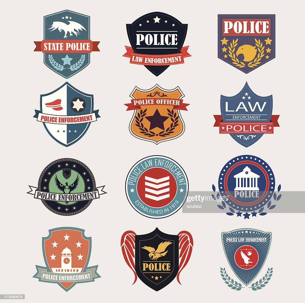 Police department badges label and design elements. Vector Illus