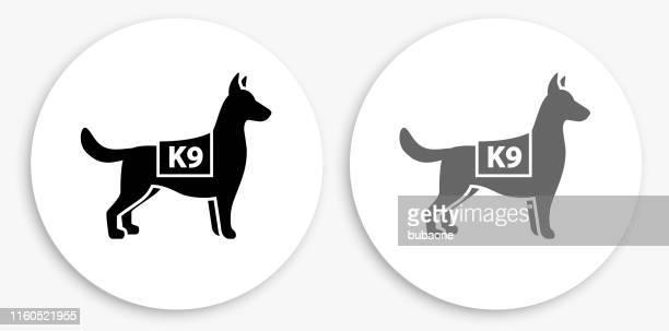 k9 police dog black and white round icon - canine stock illustrations