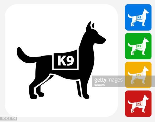 k9 police dog icon flat graphic design - canine stock illustrations