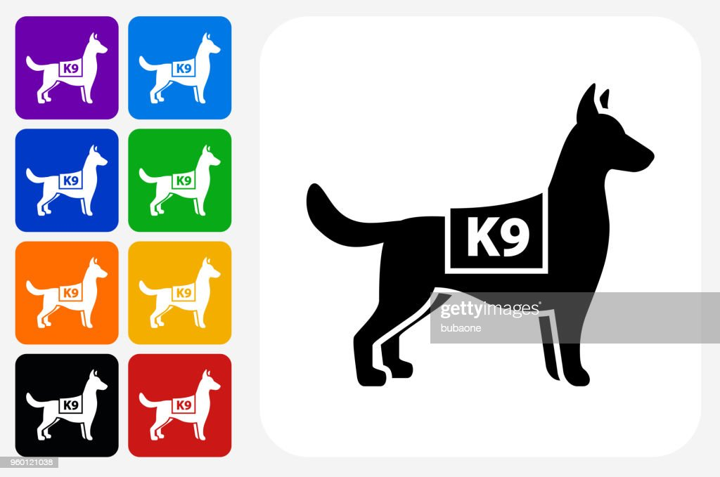 K9 Polizei Hund Symbol Square Buttonset : Stock-Illustration