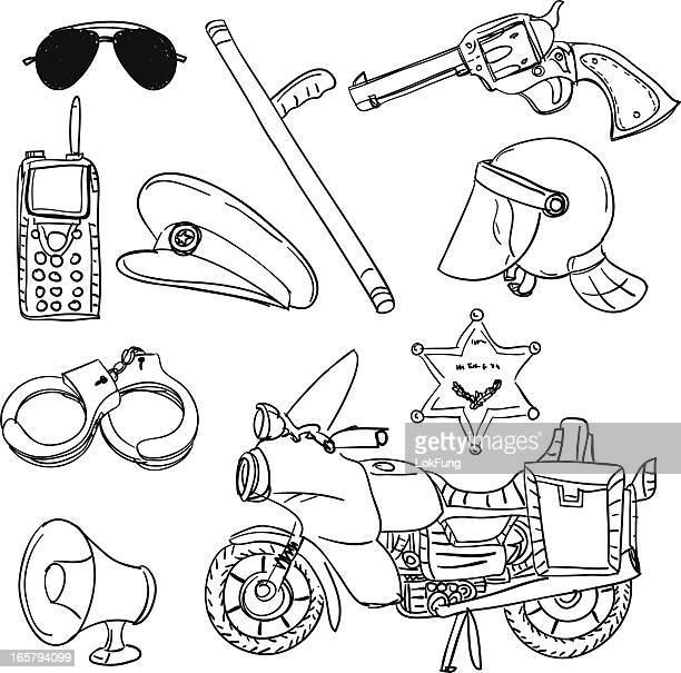 police equipment in black and white - motorcycle helmet isolated stock illustrations, clip art, cartoons, & icons