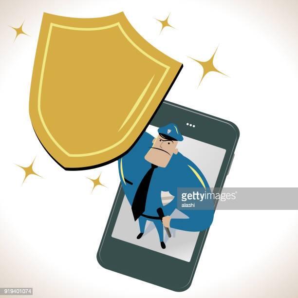 ilustrações de stock, clip art, desenhos animados e ícones de police force standing on a smart phone (mobile phone) and looking upward and holding a gold shield - proibido celular