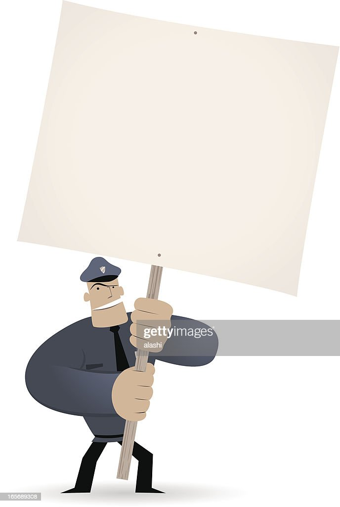 Police holding a blank sign for your message