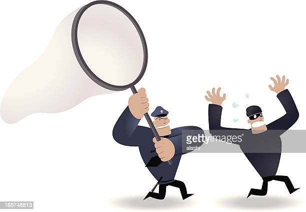 police holding big netting,  running chasing thief - arrest stock illustrations, clip art, cartoons, & icons