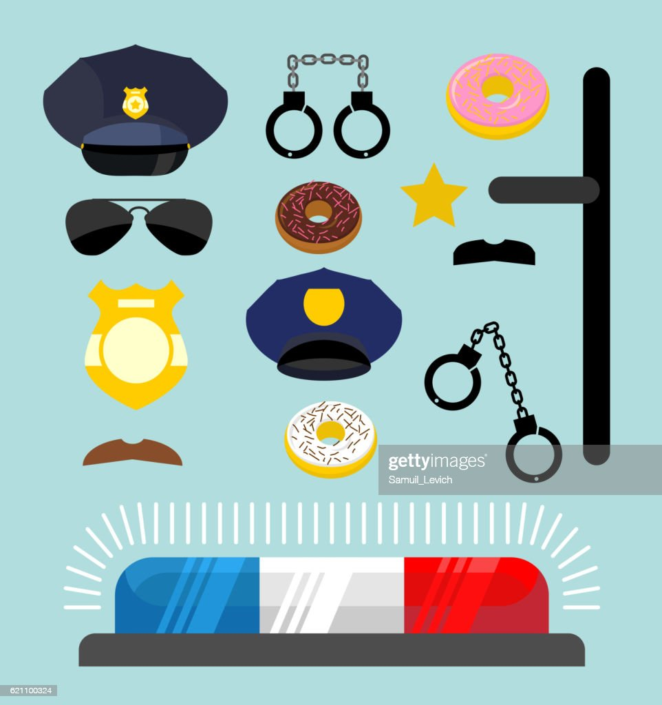 Police Icons Set Symbols Policeman Cop Accessories In Flat Sty