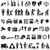 Police icons set.