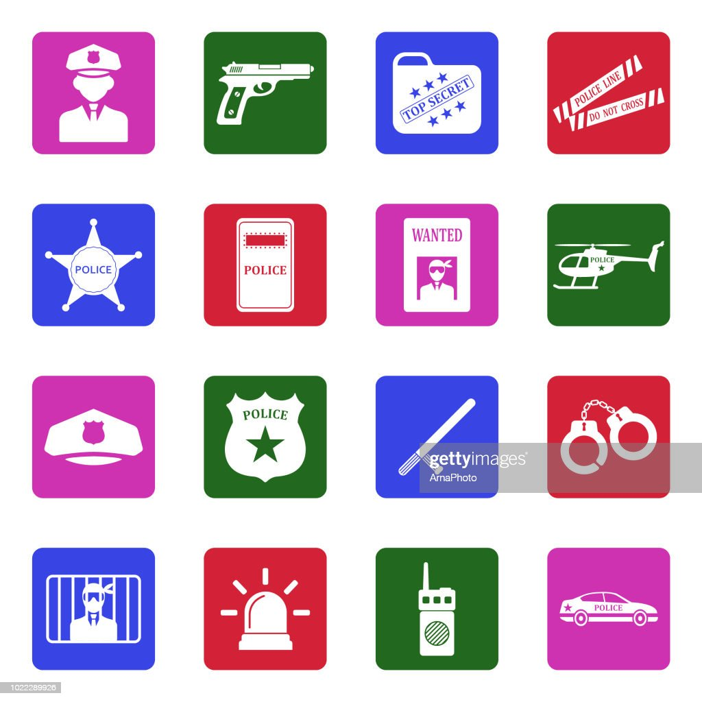 Police Icons. White Flat Design In Square. Vector Illustration.