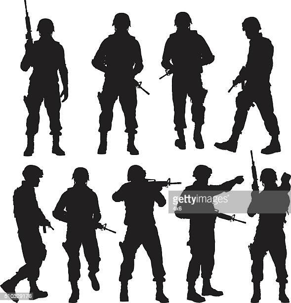 police in various actions - military personnel stock illustrations, clip art, cartoons, & icons