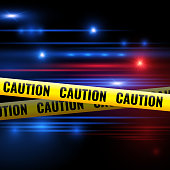 Police lights and caution tapes