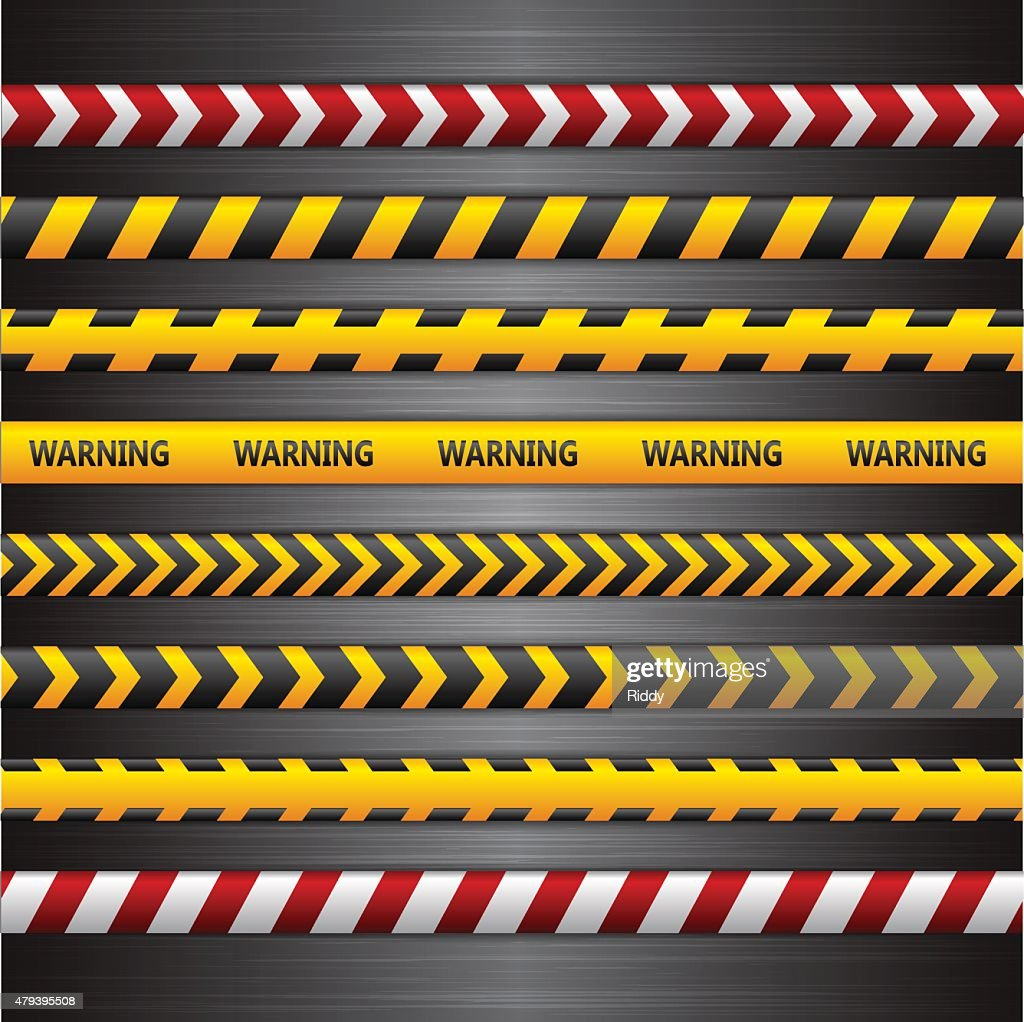 Police line, danger tapes on the dark metall background. Vector