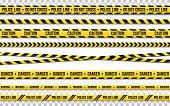Police line do not cross isolated on transparent backdrop. Police tape set. Restriction zone or crime place. Black and yellow striped on white background. Vector illustration