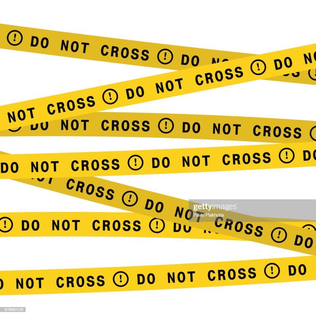 Police line do not cross tape. Vector flat style design illustration