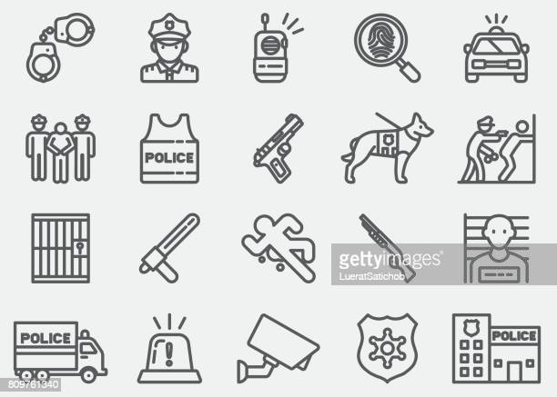 police line icons - arrest stock illustrations, clip art, cartoons, & icons