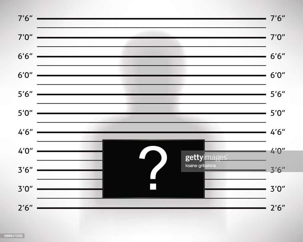Police lineup or mugshot template with anonymous shadow.