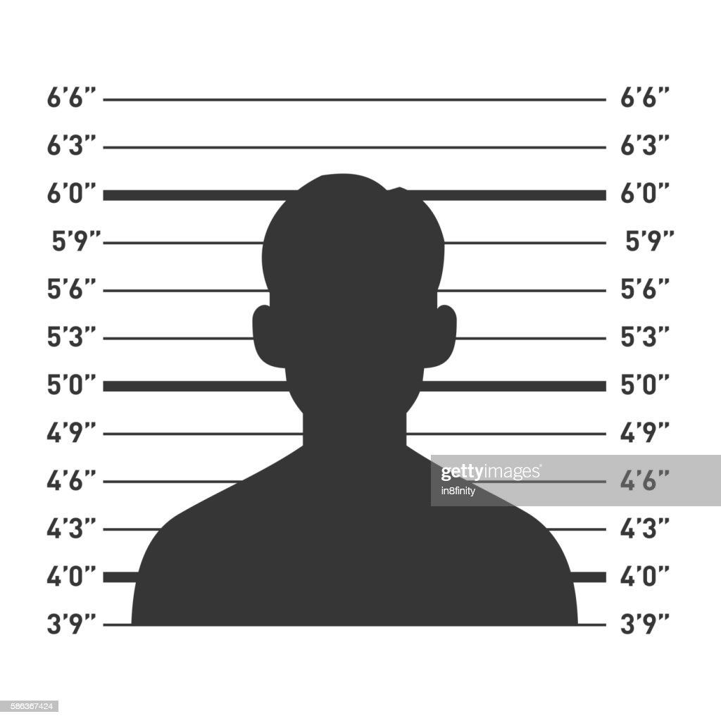 Police Lineup with Man Silhouette. Vector