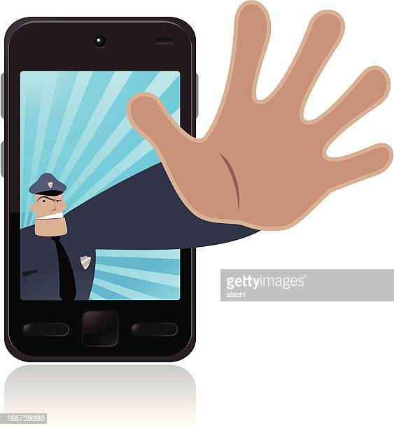 Police making stop gesture and protecting your cell phone